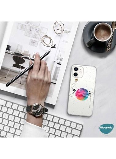 Microsonic Microsonic İPhone 12 Mini Desenli Kılıf Gezegen Şeffaf Renksiz